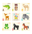 Cute zoo alphabet with animals in cartoon style