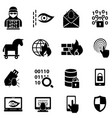 cyber security hacker malware web icons vector image