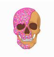 donut skull art graphic white vector image