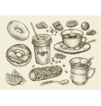 Drinks and food Hand drawn coffee tea cup vector image vector image