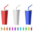 fast food cup with straw vector image