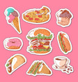 fast food isolated labels set vector image