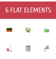 flat icons mopping wisp faucet and other vector image vector image