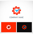 gear industry check mark logo vector image vector image