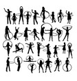 girl with hula hoop silhouettes vector image vector image