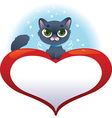 Greeting cards with heart and cat vector image vector image