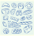 hand drawn contoured bakery elements vector image vector image