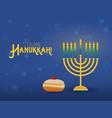 hanukkah menorah with sufganiyah jewish holiday vector image vector image