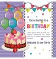 happy birthday invitation with balloons air