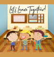happy children learn in classroom vector image