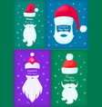 happy new year santa claus caps and white beards vector image vector image