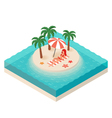 isometric of young woman Tropical island in the vector image vector image