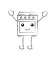 kawaii oven appliance home character vector image