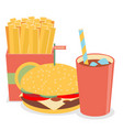 lunch with french fries hot dog and soda takeaway vector image vector image