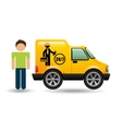 man car mechanic service icon graphic vector image