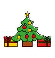 merry christmas happy tree balls star gift vector image