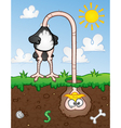 Ostrich Head In The Ground Cartoon Character vector image vector image