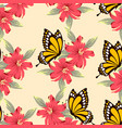 pattern with yellow butterfly vector image vector image