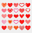 red hearts sharp simple red icon color vector image vector image