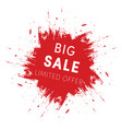 red ink splash big sale tag template limited vector image