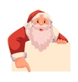 Santa Claus looking from behind the wall and vector image vector image