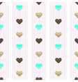 Seamless heart pink stripped pattern vector image vector image