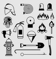 set firefighting items fire protection vector image