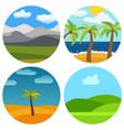 set of four natural cartoon landscapes vector image vector image
