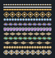 set of ornamental borders of beads of gold color vector image vector image