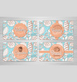 set of retro bakery banners or bakery cards vector image vector image