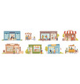 shops and store cafe small business building set vector image