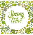 Spring time letteringGreen leaves background vector image