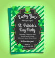 st patricks day invitation with shamrock and hat vector image