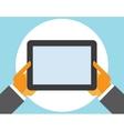 tablet computer in user hands vector image vector image