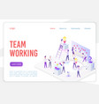 team working landing page isometric vector image vector image