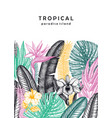 tropical wedding invitation or card design hand vector image