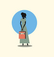 woman shopping handbag retro style vector image