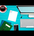 workplace office top view background vector image vector image