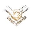 sketch of handshake friendship day design vector image