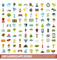 100 landscape icons set flat style vector image vector image