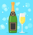 a bottle of champagne and a filled glass vector image