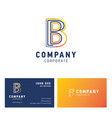 b company logo design with visiting card vector image