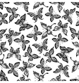 Black and white butterflies seamless pattern vector image vector image