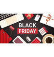 black friday text on workplace desk with computer vector image