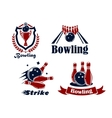 Bowling emblems and symbols vector image vector image