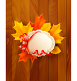 Card with leaves with a bow on wooden background vector image vector image