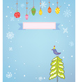 Christmas background with frame snow tree and bird vector image vector image