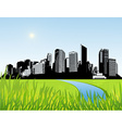 City with green grass at the front art vector image vector image