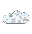 cloud computing linear style icon vector image vector image