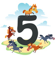Collection number for kids farm animals - number 5 vector | Price: 1 Credit (USD $1)